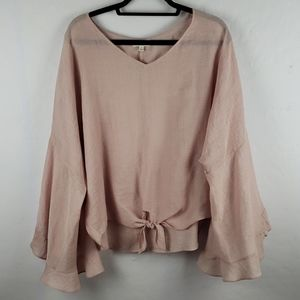 UMGEE Blush Pink Bell Ruffled Sleeves Boho Tie Top